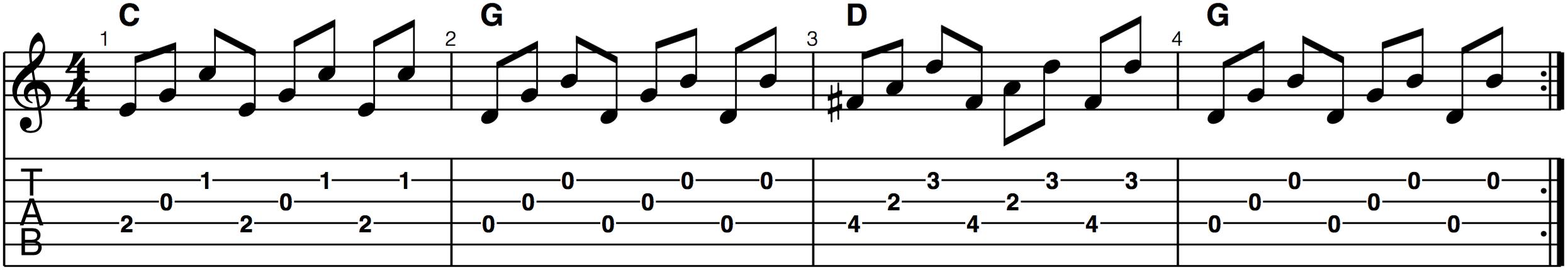 bluegrass guitar crosspicking forward roll example progression