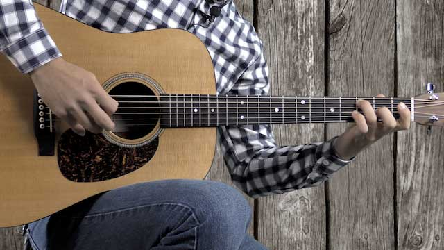 learn country bluegrass guitar riffs in D