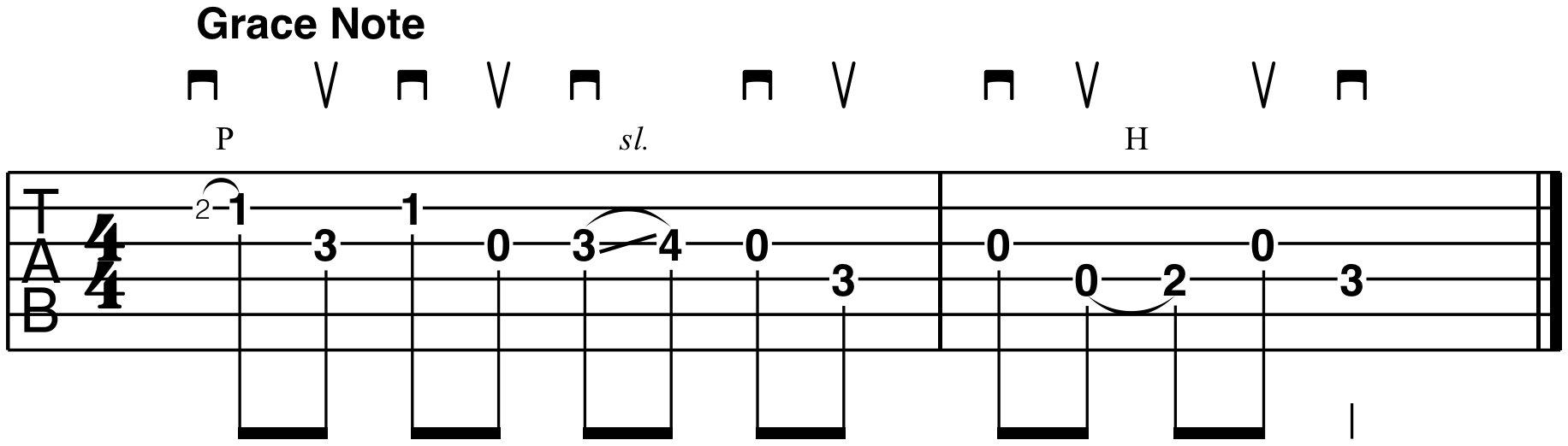 what is a grace note country bluegrass guitar tablature