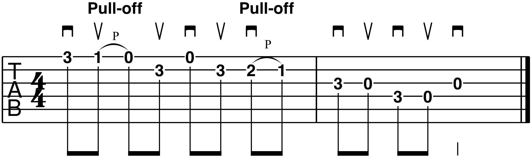 guitar tablature pull offs