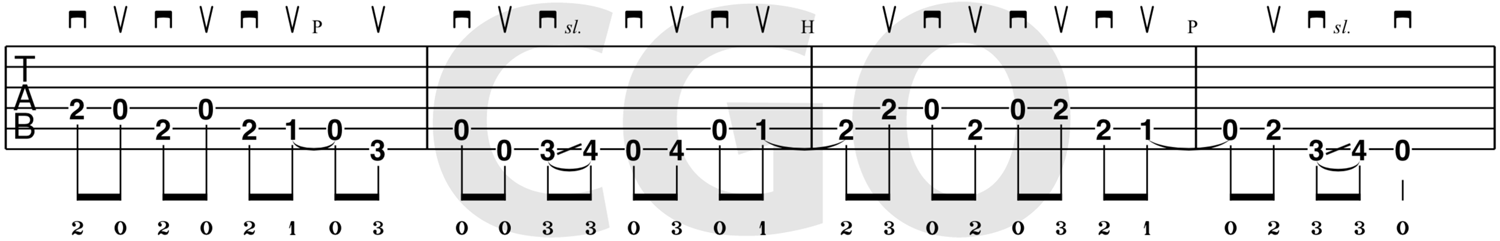 country guitar lick tablature cl-e0001